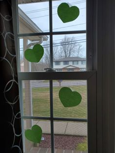 hearts in window